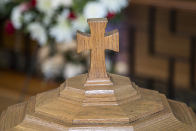 Cross on baptismal font